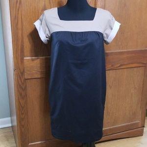 Vince Gray Black Colorblock Cotton Shift Dress